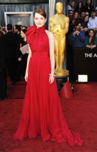 emma stone red bow